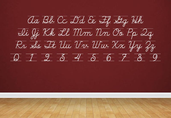 Cursive D'nealian Alphabet & Numbers Wall Decal