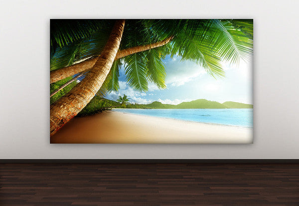 Beach with Palm Trees Canvas