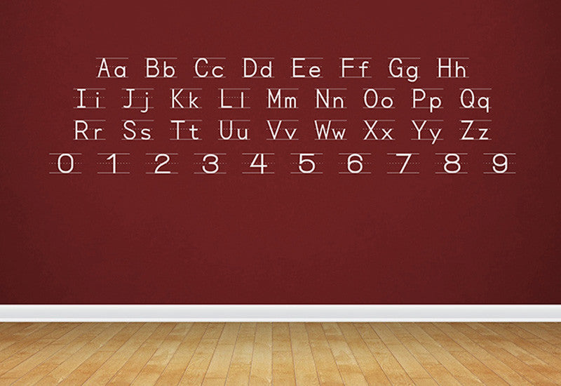 Manuscript D'nealian Alphabet & Numbers Wall Decal