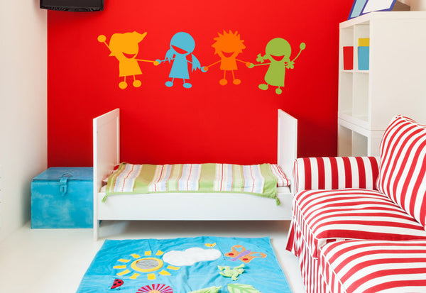 Children Holding Hands Wall Decal - Set of 4