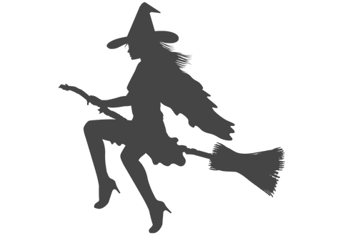 Witch on Broom Wall Decal