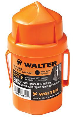 Walter 01E618 29-Piece Round Shank Jobber's Length SST+ Drill Bit Set, Orange