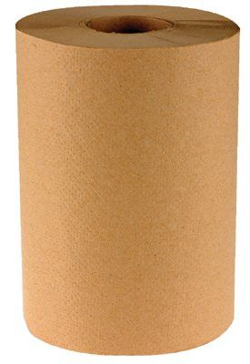 Boardwalk BWK 6252 Non-Perforated Hardwound Roll Towels, Kraft, 350 ft. roll, (12 Rolls/Case)