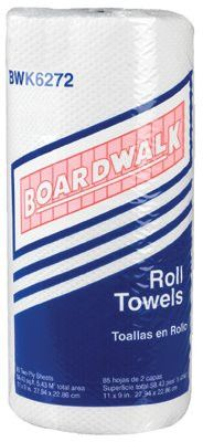 Boardwalk 6272 Household Perforated Paper Towel Rolls, White, (30 Rolls/Case)