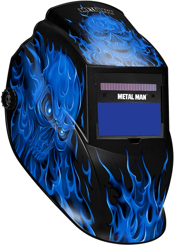 Metal Man ASF8560SGC Blue Skull Flame Variable Shade Auto Darkening Welding Helmet w/ Grind