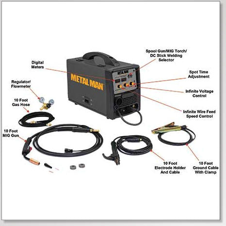 Metal Man MMP220i DV Multi-Process 200i Dual Voltage MIG Welder