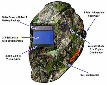 Metal Man AOCB8735SGC Camouflage BIG Window Variable Shade Auto Darkening Welding Helmet