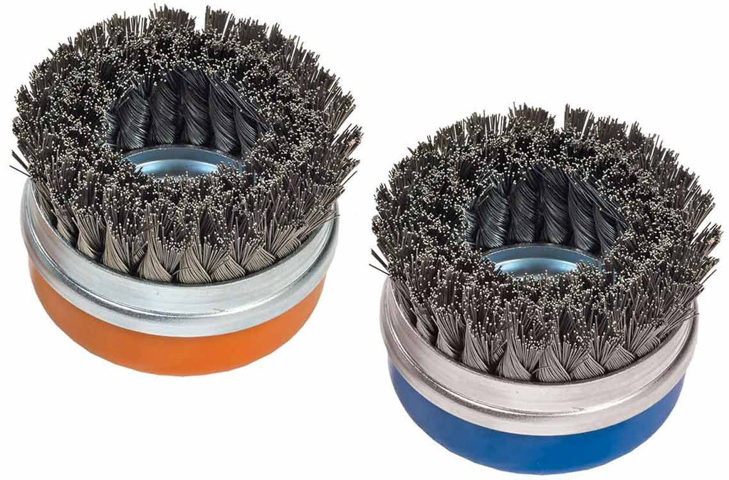 "Walter 13G584 4"" x 5/8""-11"" Stainless Double-Row Knot-Twisted Cup Brush with Ring"