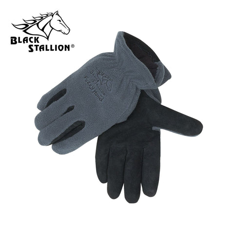 Revco 15FH-GRAY POLAR FLEECE/COW SPLIT -- MULTIBLEND INSULATED DRIVER'S STYLE GLOVES