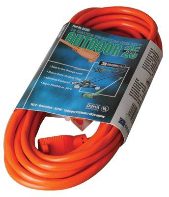 CCI 02407 Vinyl Extension Cord, 25 ft, 1 Outlet (1 EA)