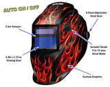 Metal Man ARF8550SGC Black w/ Red Flames Variable Shade Auto Darkening Welding Helmet w/ Grind