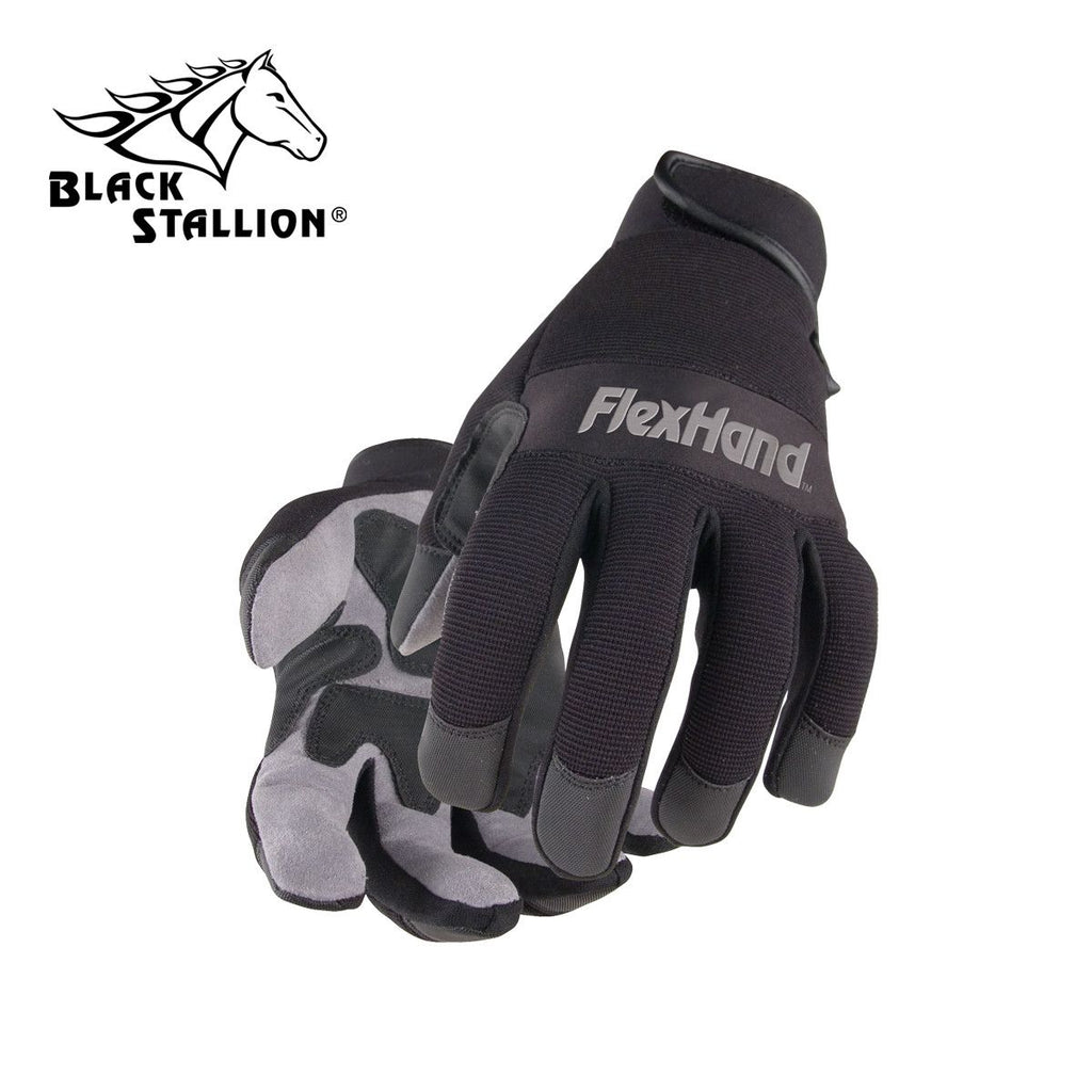 Revco 19FX-BLK FLEXHAND GRAY SYNTHETIC REINFORCED BLACK BACK ERGONOMIC GLOVES
