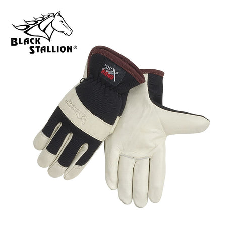 Revco 19C GRAIN COWHIDE WITH SPANDEX BACK ERGONOMIC DRIVER'S STYLE GLOVES
