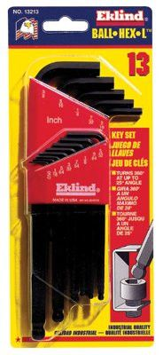 Eklind Tool 13213 13 Piece Black Oxide Hex Ball Tip Ball-Hex-L Key Inch Size Set (1 Set)