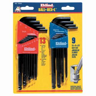 Eklind Tool 13222 22 Piece Black Oxide Long Series Ball-Hex-L Key Inch/Metric Size Set (1 Set)