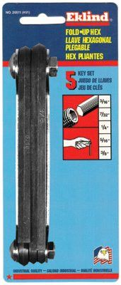 Eklind Tool 20511 5-Key Inch Fold-Up Hex Tip Key Set (1 Set)