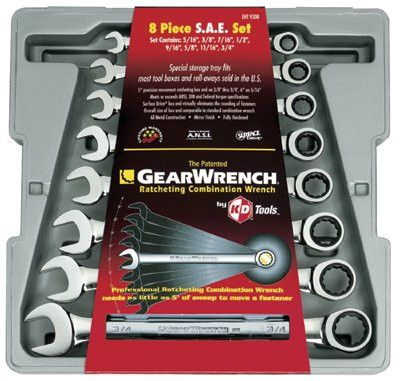 GearWrench 9308D 8-Piece Combination Ratcheting Wrench Sets, Inch (1 EA)