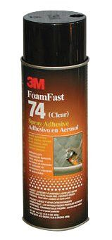 3M 021200-50045 FoamFast 74 Spray Adhesive, 16.9 oz, Aerosol Can, Clear (12 Cans)