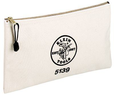 Klein Tools 5139 Zipper Bags, 1 Compartment, 12 in X 7 1/2 in, Canvas, White (1 EA)
