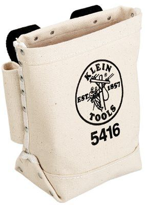 Klein Tools 5416 Bull-Pin and Bolt Bags, 3 Compartments, 10 in X 5 in, Canvas (1 EA)
