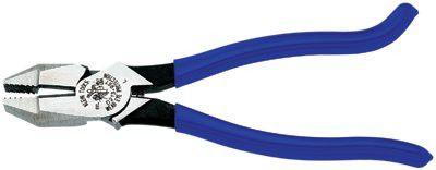 Klein Tools D213-9ST Ironworkers Pliers, 9 9/32 in Length, 23/32 in Cut, Plastic-Dip Hook Bend Handle (1 EA)
