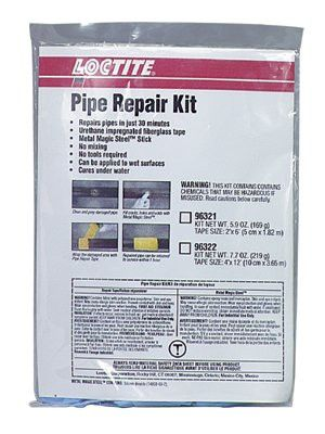Loctite 96321 Pipe Repair Kits, 6 ft X 2 in Metallic Black Tape, Epoxy Stick , Gloves (1 Kit)