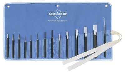 mayhew-tools-61044-punch-&-chisel-kit,-14-pc,-alloy-steel-w/black-oxide-finish
