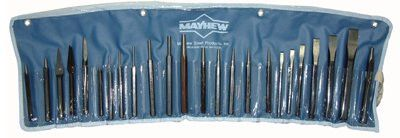 Mayhew Tools 61050 24 Piece Punch & Chisel Kit, Pointed and Round w/Pouch (1 Kit)