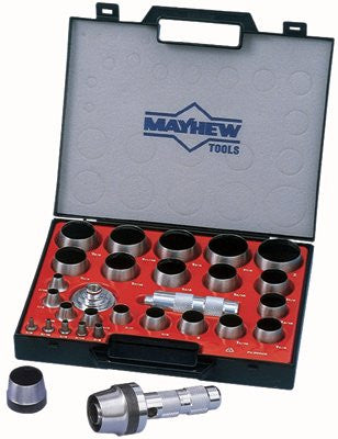 Mayhew Tools 66002 27 Piece Hollow Punch Tool Kit, Round w/Case (1 Set)