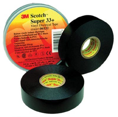 3M 06130 Scotch Super Vinyl Electrical Tapes 33+, 20 ft x 3/4 in, Black (1 Roll)