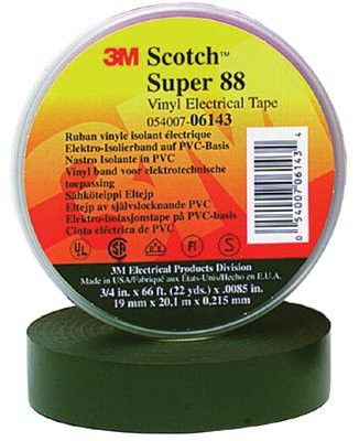 3M 06143 Scotch Super Vinyl Electrical Tapes 88, 66 ft x 3/4 in, Black (1 Roll)