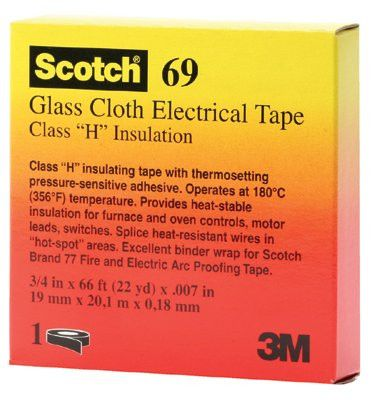 3M 09910 Scotch Glass Cloth Electrical Tapes 69, 66 ft x 0.75 in, White (10 Rolls)