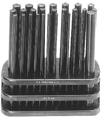"C.S. Osborne K-358 Punch Set, 28 Piece, Pouch, 3/32"" - 17/32"" 1 SET"