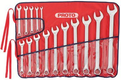 Proto 1200F-T500 Torqueplus 12-Point Combination Wrench Sets, 15 Piece, Inch, Flat Handle, Polish (1 Set)