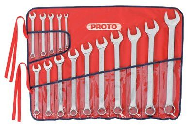 Proto 1200FASD Torqueplus 12-Point Combination Wrench Sets, 15 Piece, Inch, Oval Handle, Satin (1 Set)