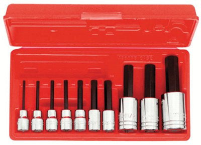 Proto 4900A 10-Piece Hex Bit Socket Sets, 3/8 in-1/2 in, SAE, w/Box (1 Set)