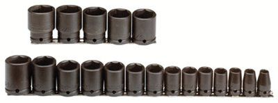 Proto 74106 Torqueplus 19 Piece Impact Socket Sets, 1/2 in, 6 Point (1 Set)
