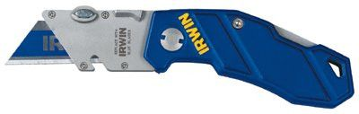 "Irwin 2089100MIR Folding Knife, 5 3/4"", Stainless Steel/Aluminum, Blue (1 EA)"