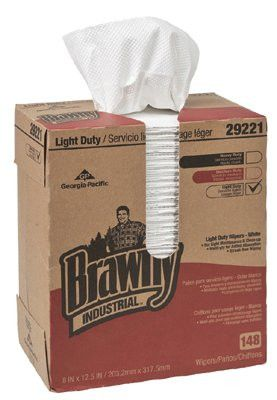 Georgia-Pacific GPC 29221 Brawny Industrial Light-Duty Wipers, White, 148 per box (1 Box)
