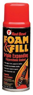 Red Devil 909 Polyurethane Triple Expanding Foam, 12 oz Aerosol Can, Champagne (12 Cans)
