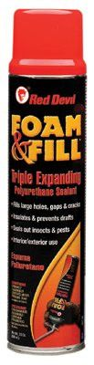 Red Devil 0912 Polyurethane Triple Expanding Foam, 20 oz Aerosol Can (12 Cans)