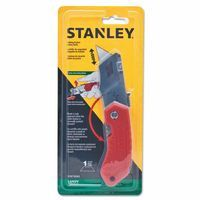 Stanley STHT10243 Folding Pocket Safety Knives, 4.312 in, Folding Steel Blade, Bi-Material, Gray|Red 1 EA