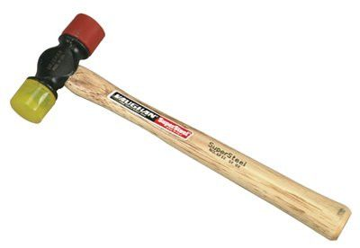 Vaughan SF12 Soft Face Hammers, 12 oz Head, 1 3/8 in Dia., Red/Yellow 1 EA