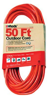 Woods Wire 529 Outdoor Round Vinyl Extension Cord, 50 ft