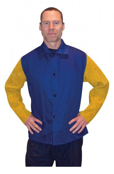 "Tillman 923036 36"" Royal Blue Jacket with Cowhide Leather Sleeves (1 Jacket)"