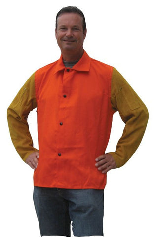 "Tillman 9230D 30"" Orange Jacket with Cowhide Leather Sleeves (1 Jacket)"