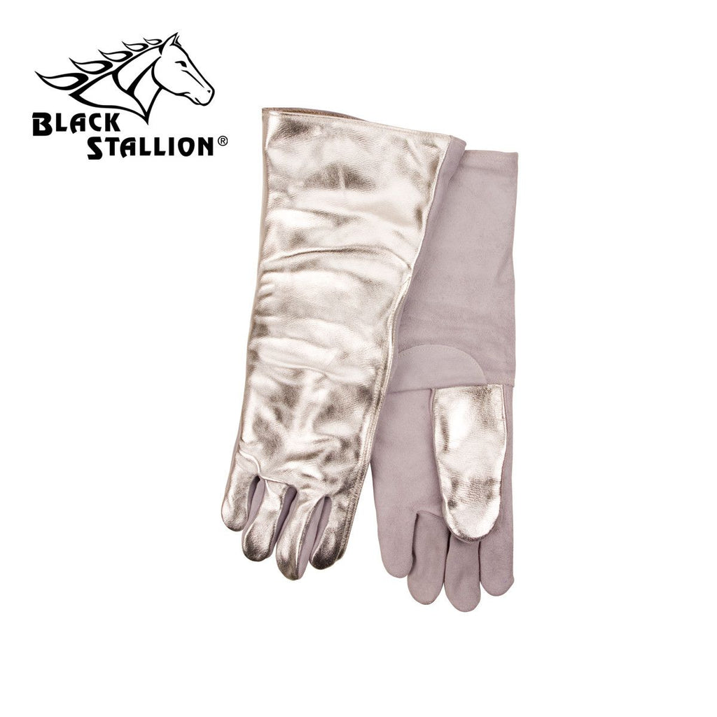 "Revco AL718L 18"", 19 oz. Aluminized Leather Back/Palm Thermal Protective Gloves (1 Pair)"