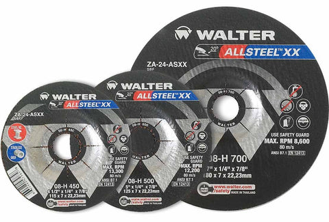 "Walter 08H707 7"" x 1/8"" Allsteel XX Metal Spin-On Grinding Wheel"