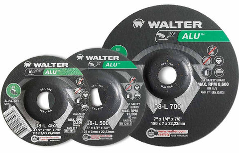 "Walter 08L705 7"" x 1/4"" Type-27 ALU Metal Spin-On Grinding Wheel"