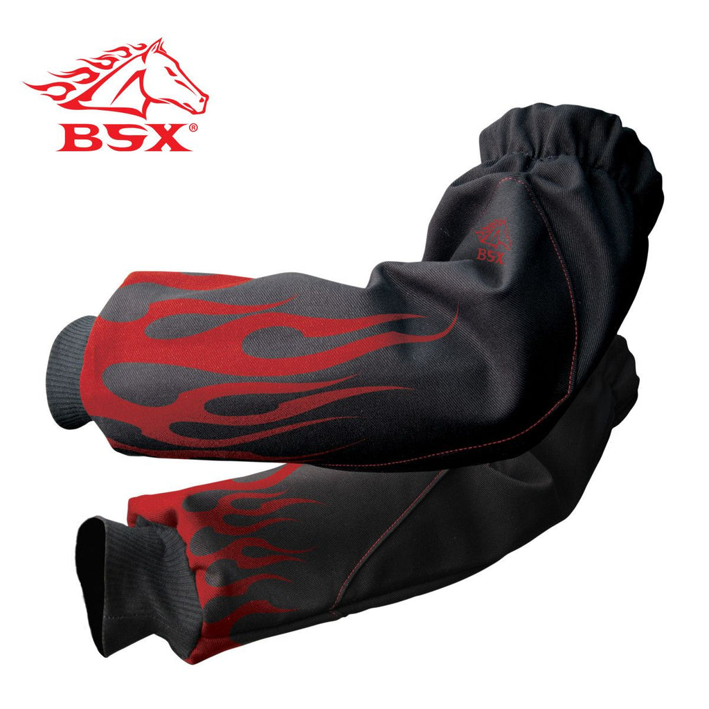 Revco BX9-19S-BK BSX BLACK WITH BLACK - RED FLAMES XTENDERS REINFORCED FR SLEEVES